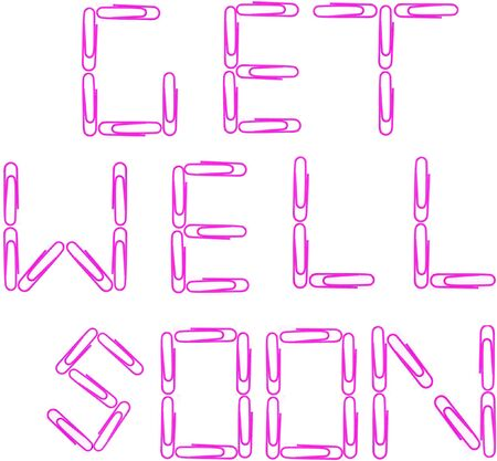 get well: Isolated photo image of red paper clips spelling out the words,