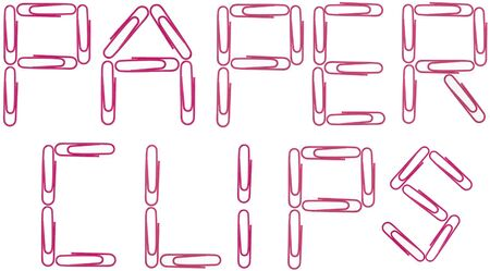 Isolated photo image of red paper clips splelling out the words,