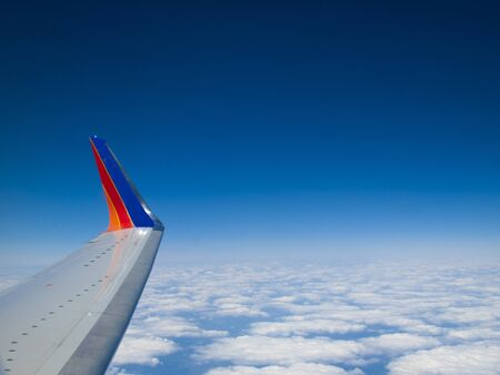 727 wing in flight horizontal Stock Photo - 9328270