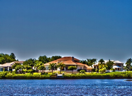 photo image of a wealthy waterfront neighborhood. photo