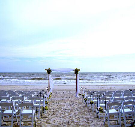 boda en la playa: Imagen de la foto de un ajuste de boda de playa Foto de archivo