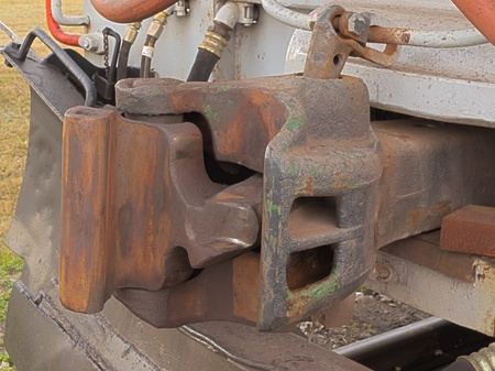 HDR photo image of a railroad coupler device