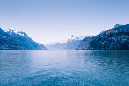 mountaintops: Air background. Ridge Mountains. Tops in snow. Lake Lucerne. Switzerland. Wide-Angle Lens