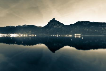 ifestyle: Background as epic mountain landscape.  Bleach bypass effekt. Stock Photo