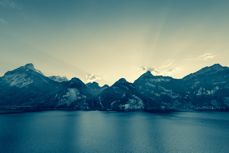 Evening in the Alps. Mountainous landscape, wide lens. Abstract color.