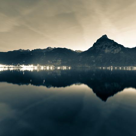 Background as epic mountain landscape.  Bleach bypass effekt. Stock Photo