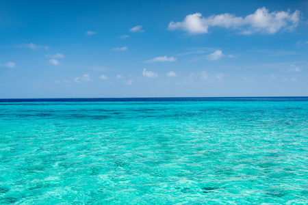 Panorama of tropical lagoon on the island in Indian Ocean.