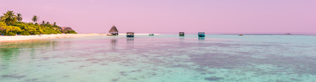 Panorama of tropical lagoon on the island in Indian Ocean. Maldives. Stock Photo