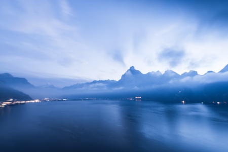 ifestyle: Mountain panorama aerial view. Fog over the lake. Blurred background. Stock Photo