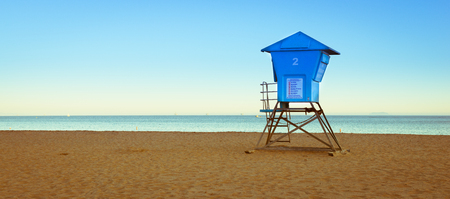 Evening mood at the beach in Santa Barbara. Coast of California.