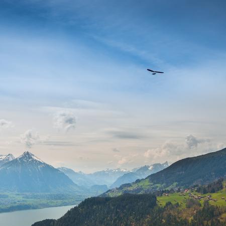 monch: Grandiose panorama on top of  Bernese Oberland, Interlaken and mountain range. Switzerland