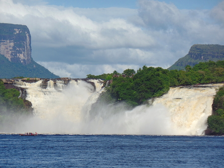 sopping: Canaima waterfall. adventurous ride through the waters of the Canaima lagoon in the Venezuelan Gran Sabana