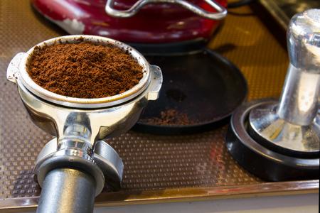 Coffee powder in EspressoGroup Head
