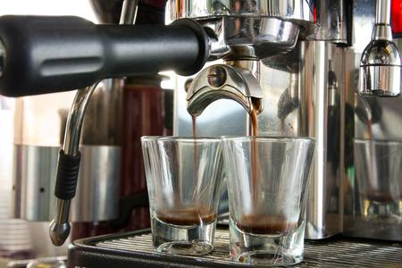 Espresso double shot starting Stock Photo