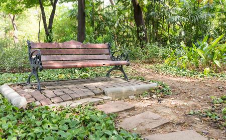 Wooden seats in the Garden Stock Photo
