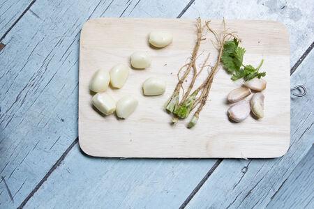 Asian Ingredients Garlic Coriander On Block Stock Photo