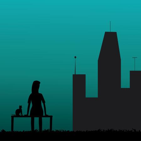 Alone Women silhouette vector