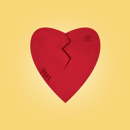 heartbroken on yellow background vector Illustration