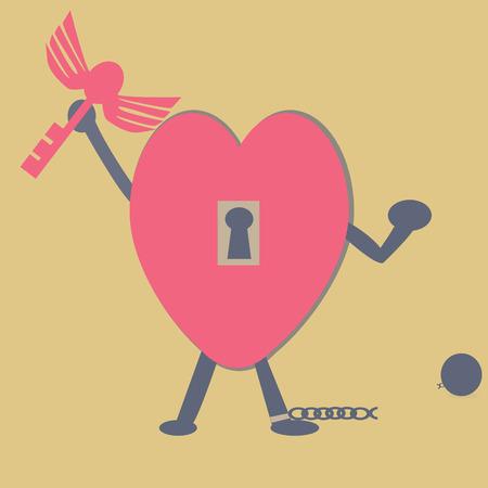 Heart key freedom Vector