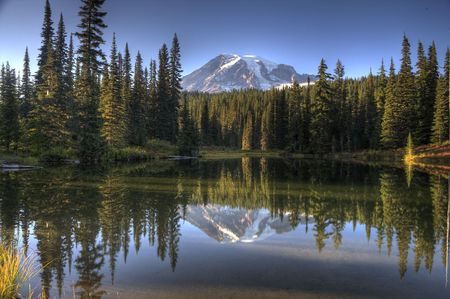 Mt. Rainier in Reflection Lake Stock Photo