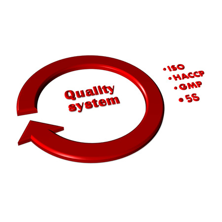 Presentation element of quality system(iso, gmp, haccp, 5s) on white background photo