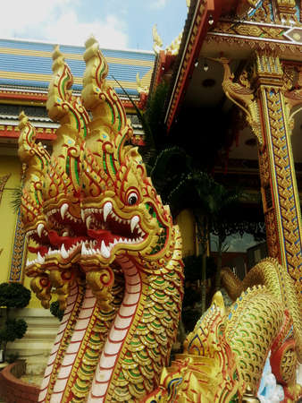 creative: Dragons in temple thailand