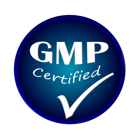 GMP certified icon or symbol image concept design on white background Stock Photo
