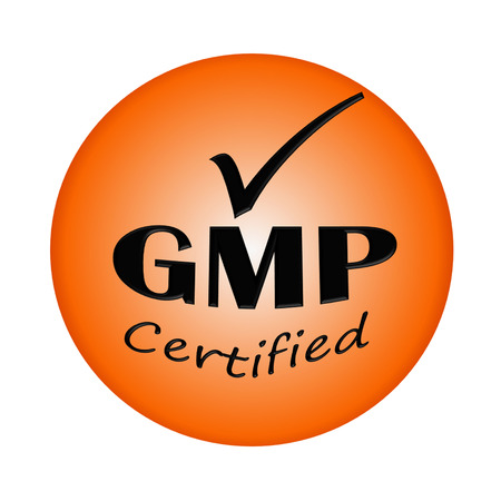 GMP certified icon or symbol image concept design on white background photo