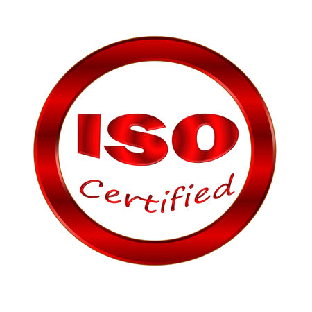ISO certified icon or symbol image concept design on white background photo