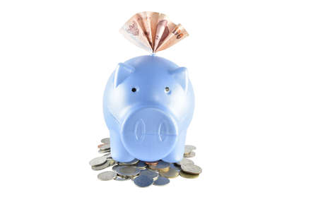 clipping: Piggy bank and money on white background with clipping paths.