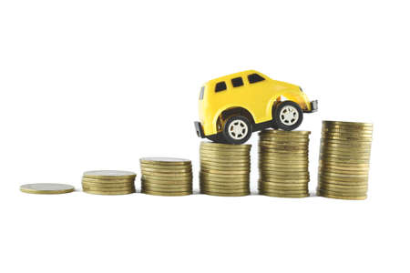 car and money ideas for saving on white background  photo