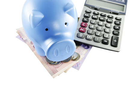 Piggy bank, money and calculator concept for save cost in business photo