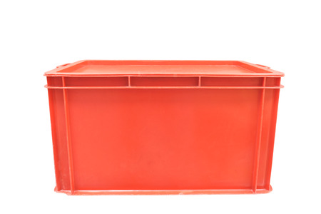 Red plastic box packaging of finished goods product on white background