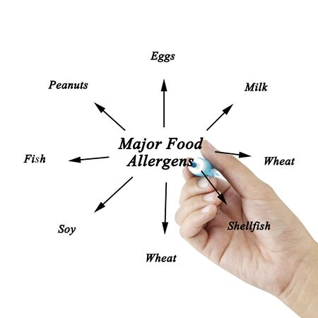 alergenos: Women hand writing element of major food allergens Milk, Eggs, Fish,shellfish, Tree nuts, Peanuts, Wheat, Soybeans for use in manufacturing for Training and Presentation Foto de archivo