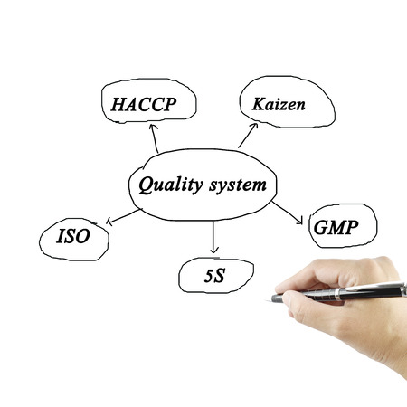 kaizen: Presentation element of quality system(iso, gmp, haccp, 5s, kaizen) on white background