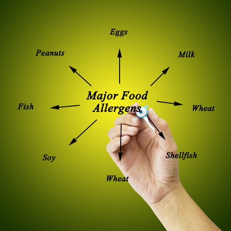 Women hand writing element of major food allergens Milk, Eggs, Fish,shellfish, Tree nuts, Peanuts, Wheat, Soybeans for use in manufacturing for Training and Presentation Banque d'images
