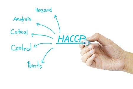meaning: women hand writing meaning of HACCP concept Hazard Analysis of Critical Control Points on green background for used in manufacturing. Training and Presentation
