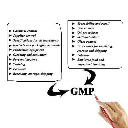 audits: Women hand writing element of GMP on white background for used in manufacturing.Training and Presentation