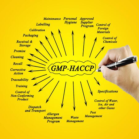 labelling: Women hand writing element  GMP-HACCP for use in manufacturing (Training and Presentation) Stock Photo