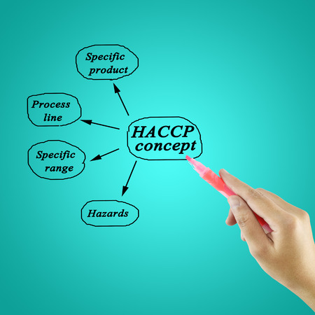 specifications: Woman hand writing HACCP concept on white background for use in manufacturingTraining and Presentation Stock Photo