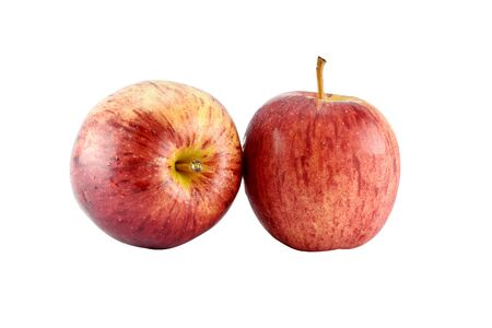 weight control: Red apple concept for healthy diet and body weight control on white background with clipping paths Stock Photo