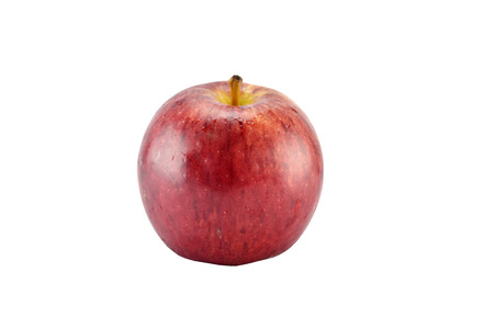 weight control: Red apple concept for healthy diet and body weight control on white background