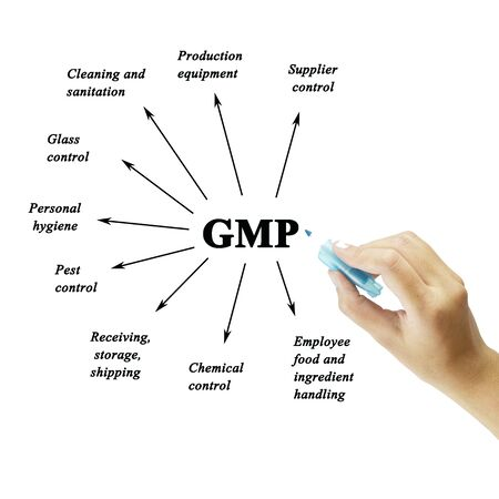 audits: Women hand writing element of GMP on white background  for used in manufacturing.(Training and Presentation)