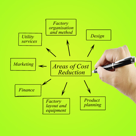 cost reduction: Hand of women writing element areas of Cost Reduction  for business concept.(Training and Presentation)