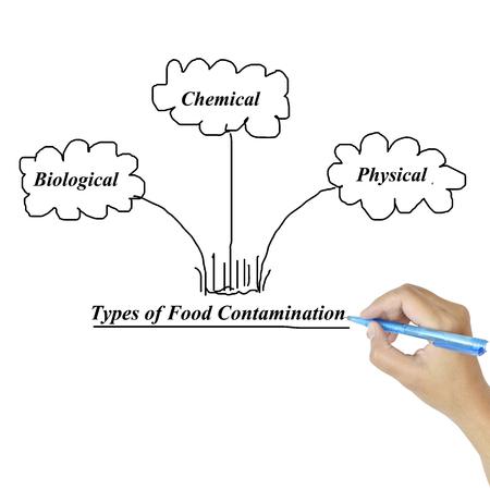 aseo: Tipos de contaminación de los alimentos de la imagen para su uso en la fabricación (de formación y presentación) Foto de archivo