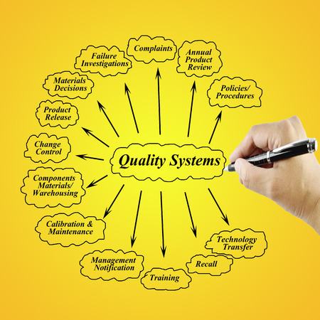 business process reengineering: Women hand writing element of Quality  System for use in manufacturing and business concept (Training and Presentation)