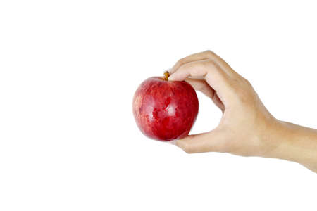 red hand: Hand holding red apple on white background