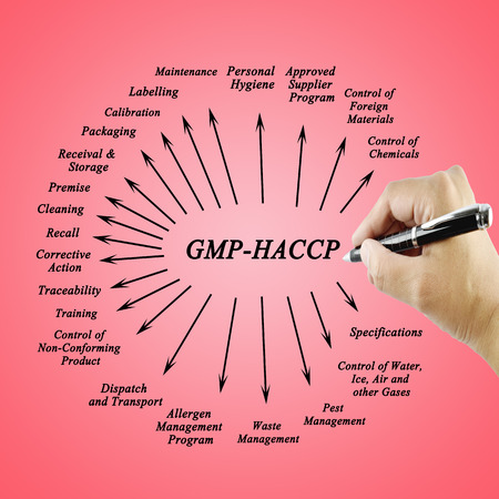 traceability: Women hand writing element GMP-HACCP for use in manufacturing Training and Presentation