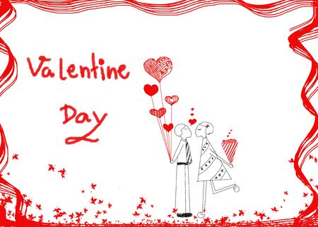 white day: Couple in love, hand drawn design idea of couple in love(male and girl) for Valentines day on white background.