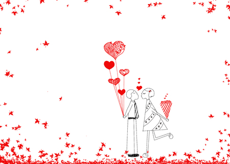 love kiss: Couple in love, hand drawn design idea of couple in love(male and girl) for Valentines day on white background.